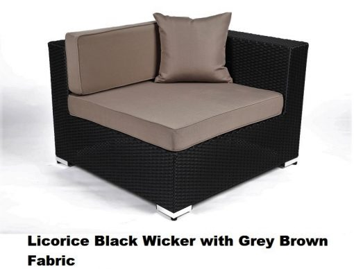 Licorice Black wicker with grey brown fabric cover