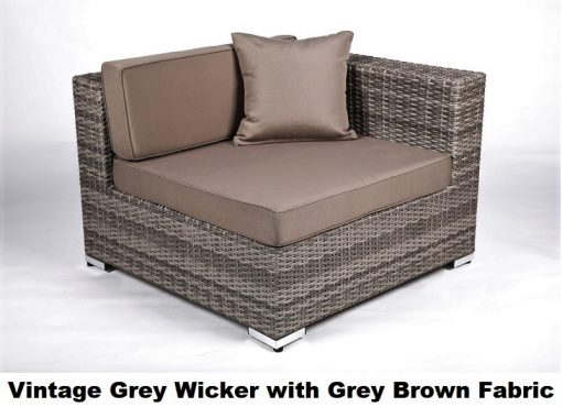 vintage grey wicker with grey brown fabric cover