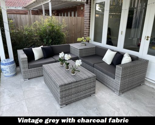 vintage grey with charcoal fabric wicker storage box